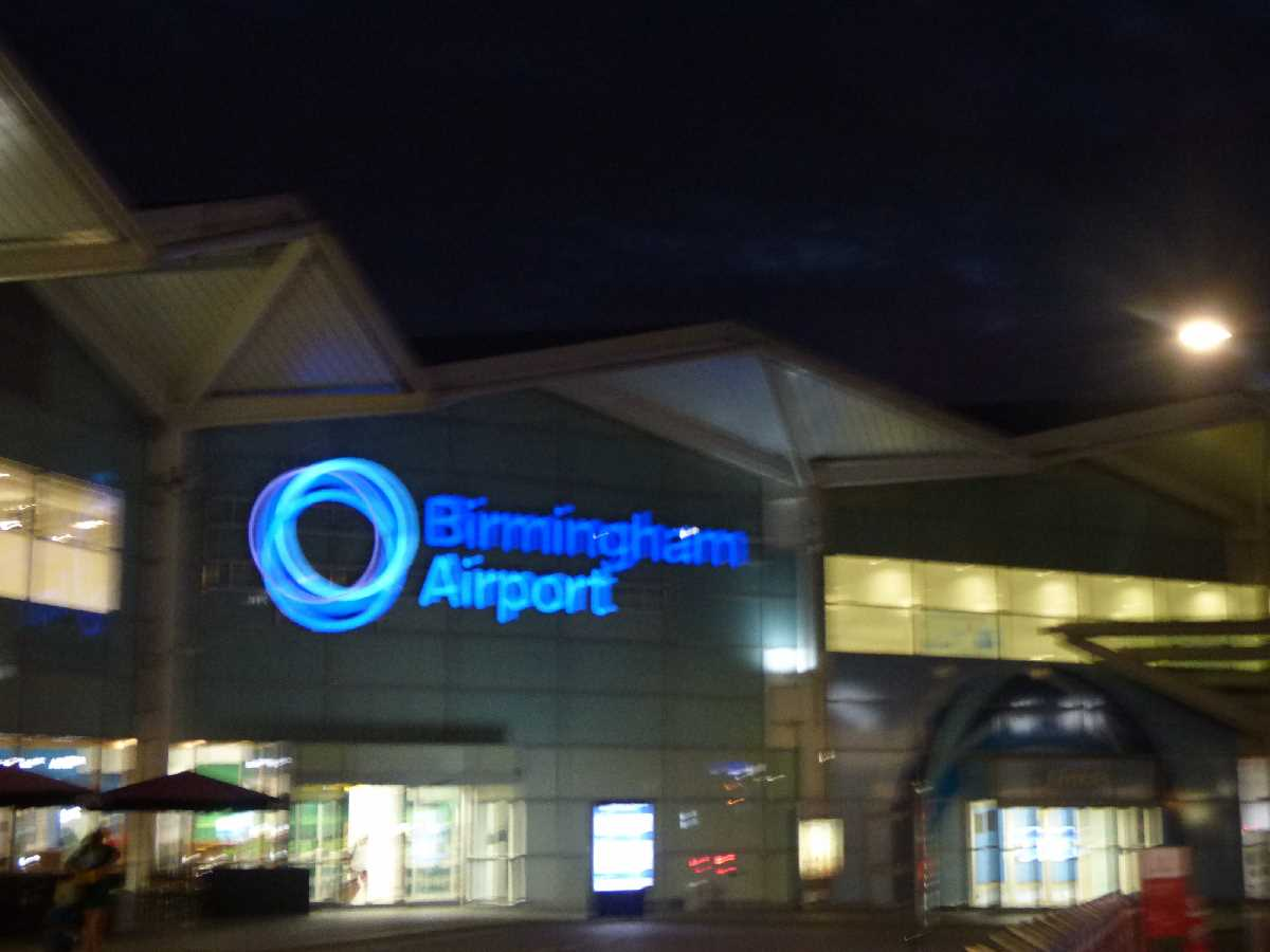 Birmingham Airport back at night