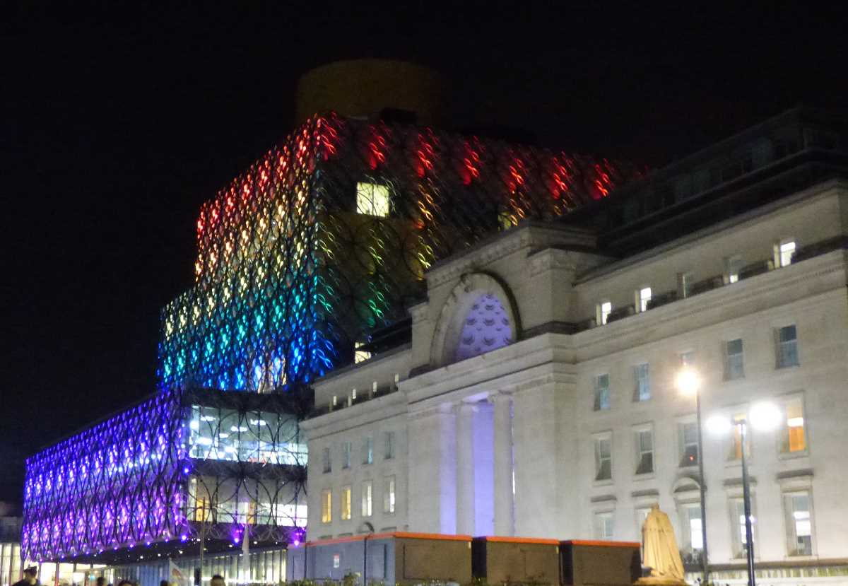 Baskerville House and the Library of Birmingham at night