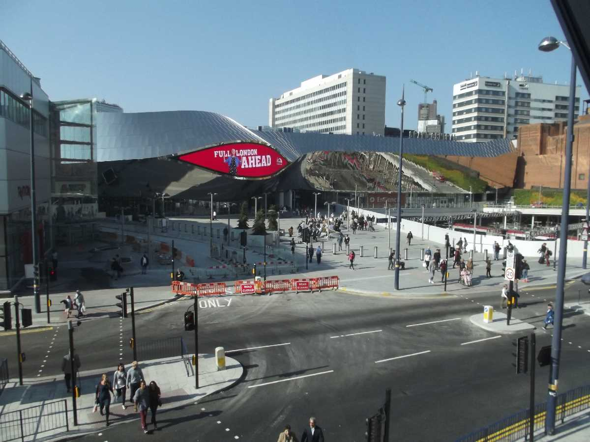 Birmingham New Street Statio from the Bullring (October 2015)