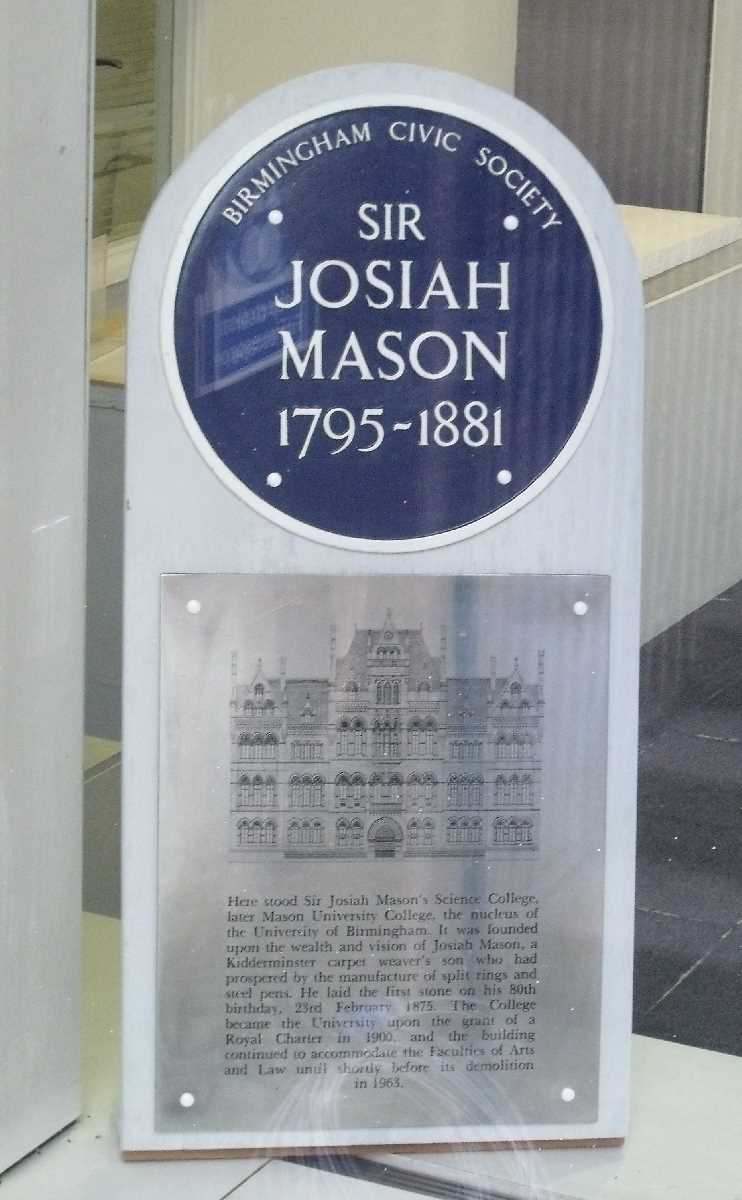 Birmingham Central Library - Mason College plaques