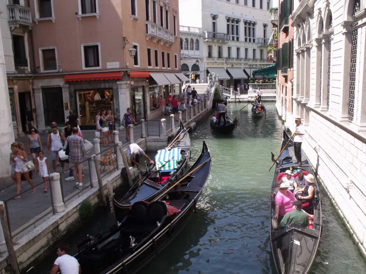 Gondola rides on the canals of Venice