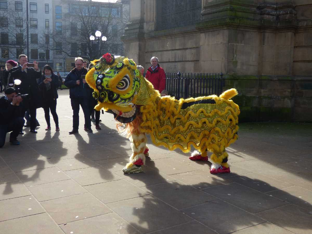 Chinese New Year 2018 St Philip's Cathedral yellow dragon lion