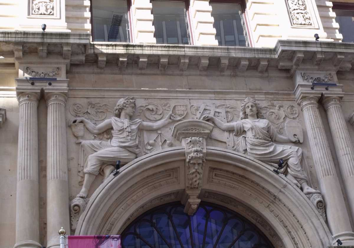 Great Western Arcade Temple Row entrance - Allegories of Science and Art