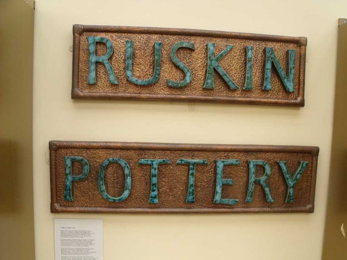 Ruskin Pottery sign in BMAG