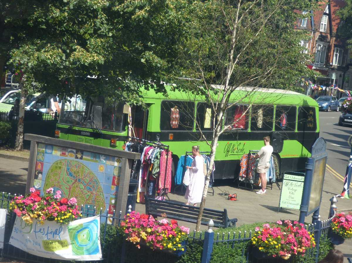Green bus on the village green - St Mary's Row, Moseley