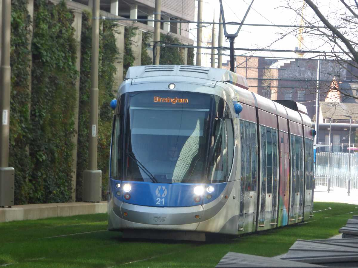 Tram 21 passing the Snow Hill Living Wall