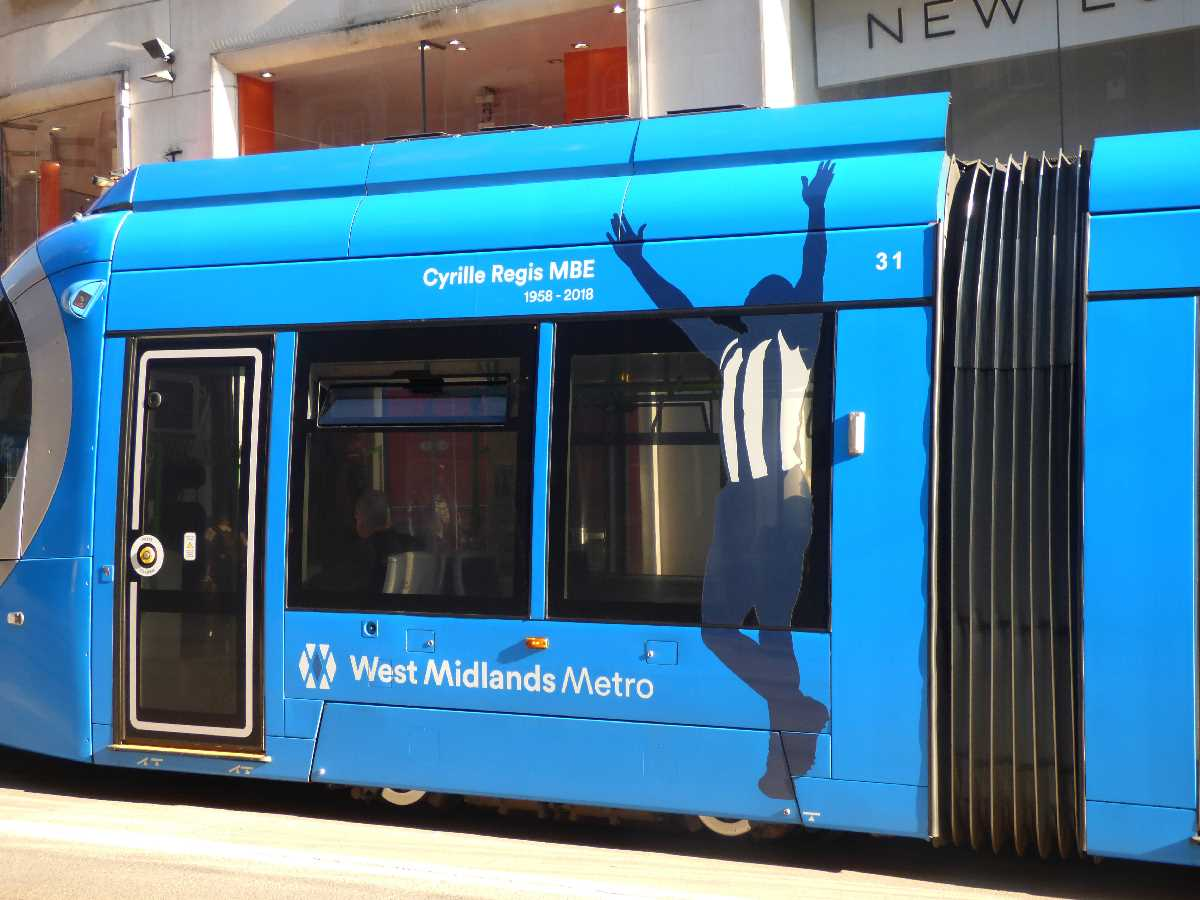 West Midlands Metro tram 31 Cyrille Regis at Corporation Street Tram Stop